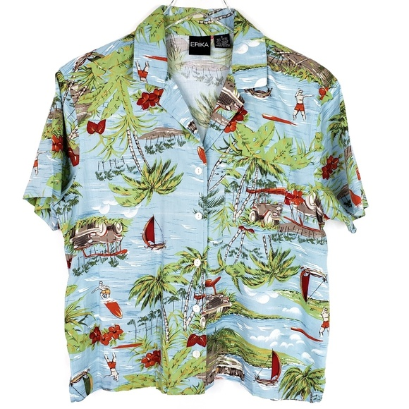 Erika Tops - Vintage Hawaiian button down Erika 80s Rayon Palm